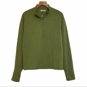 Ibex Shak 1/2 Zip Green Merino Wool Pullover